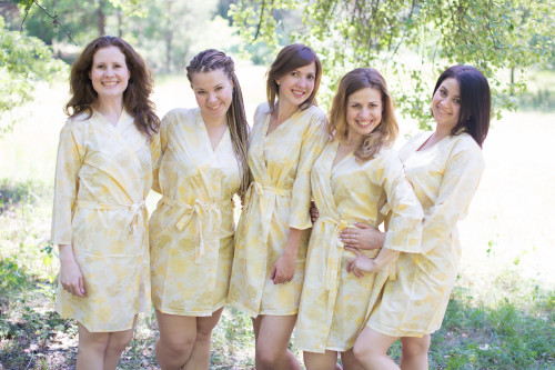 White Yellow Ombre Watercolor Leafy Robes for bridesmaids