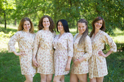 Light Yellow Tiny Blossom Robes for bridesmaids
