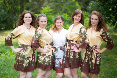 Yellow Tree of Life Robes for bridesmaids