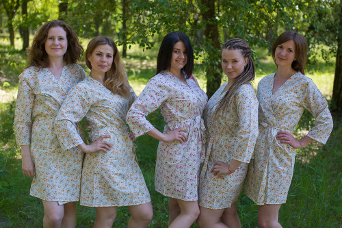 Light Yellow Small Starry Floral Robes for bridesmaids