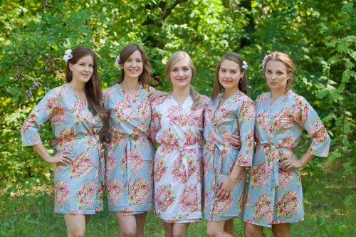 Silver Floral Posy Robes for bridesmaids | Getting Ready Bridal Robes