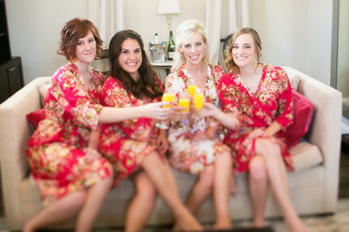 Red Rosy Red Posy Robes for bridesmaids