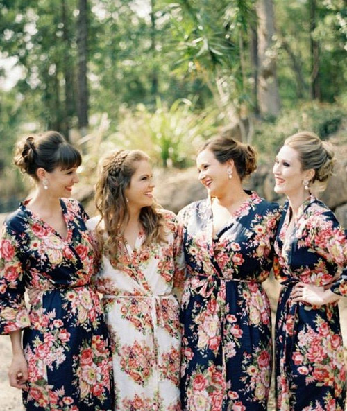 Navy Blue Rosy Red Posy Robes for bridesmaids