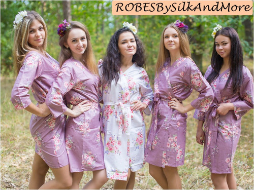 Amethyst Purple Faded Floral Robes for bridesmaids