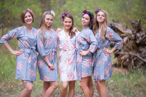 Gray Faded Floral Robes for bridesmaid