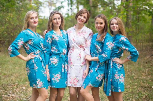 Peacock Blue Faded Floral Robes for bridesmaids