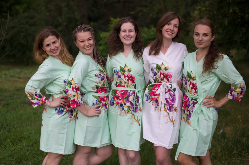 Mint One long flower pattered Robes for bridesmaids | Getting Ready Bridal Robes