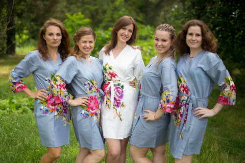 Silver Gray One long flower pattered Robes for bridesmaids | Getting Ready Bridal Robes
