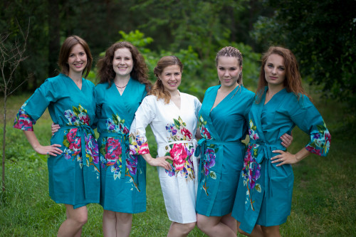 Teal One long flower pattered Robes for bridesmaids | Getting Ready Bridal Robes