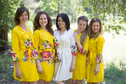 Yellow One long flower pattered Robes for bridesmaids | Getting Ready Bridal Robes