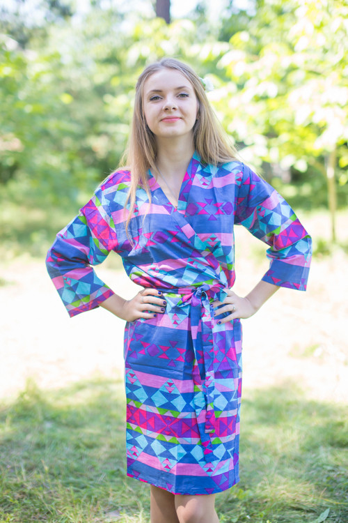 Dark Blue Pink Diamond Aztec Robes for bridesmaids   Getting Ready Bridal Robes