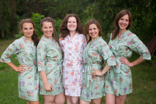 Grayed Jade Romantic Floral pattered Robes for bridesmaids | Getting Ready Bridal Robes