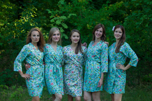 Light Blue Happy Flowers pattered Robes for bridesmaids | Getting Ready Bridal Robes