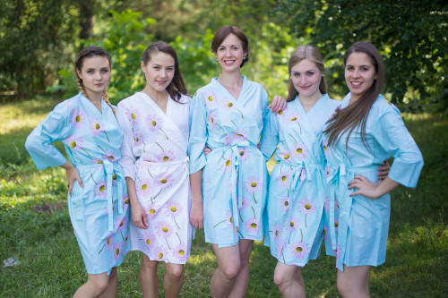 Light Blue Falling Daisies pattered Robes for bridesmaids | Getting Ready Bridal Robes
