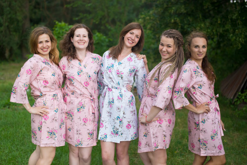 Pink Romantic Floral pattered Robes for bridesmaids | Getting Ready Bridal Robes