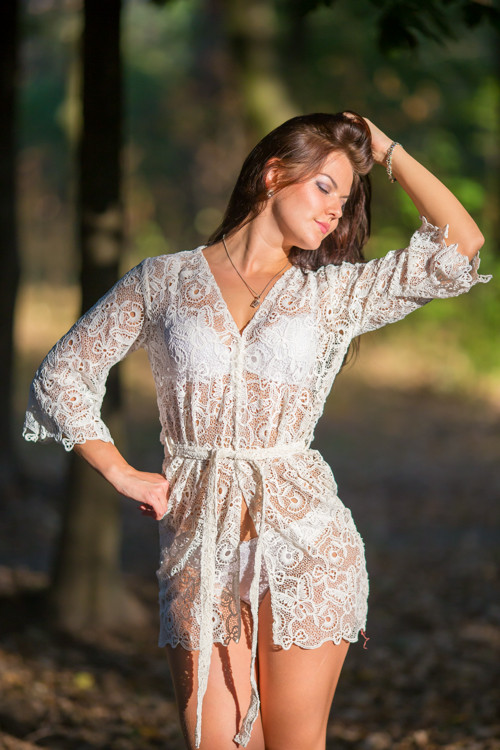 Oh Dreama White Butterfly Lace Bridal Boudoir Robe
