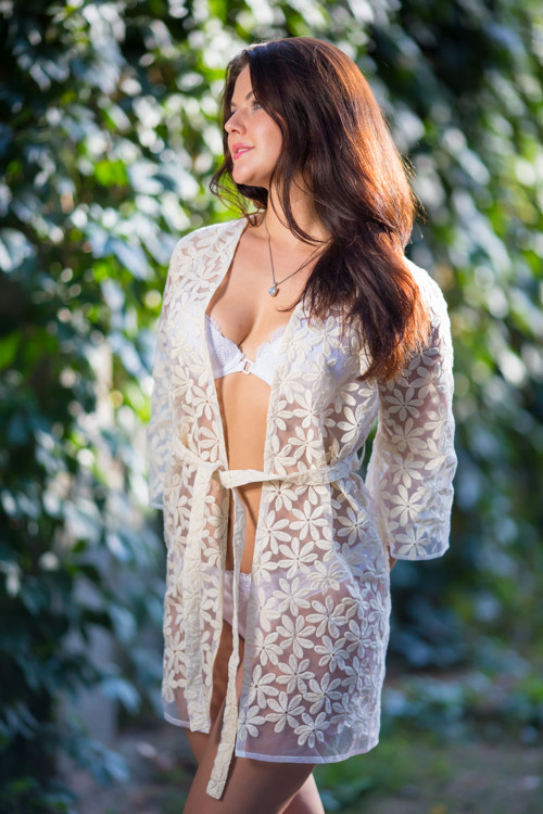 Oh Flora Ivory Floral Lace Bridal Boudoir Robe