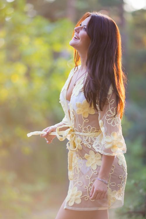 Oh Kim Light Yellow Floral Lace Bridal Boudoir Robe