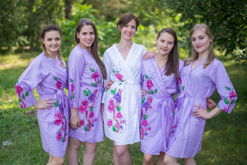 Lilac Swirly Floral Vine Robes for bridesmaids
