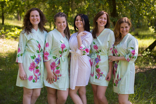 Mint Swirly Floral Vine Robes for bridesmaids
