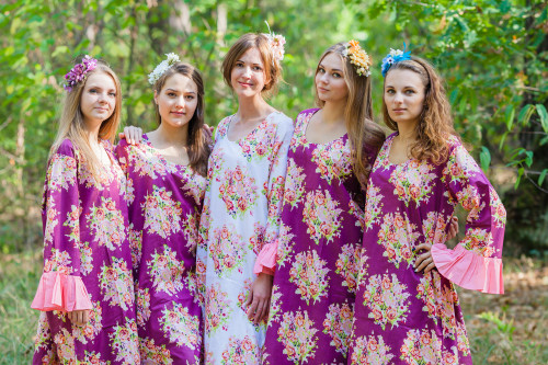 Frill Lovers Style Kaftans for bridesmaids to get ready in