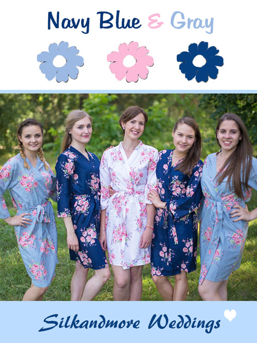 Navy Blue, Gray and Pink Wedding Color Robes