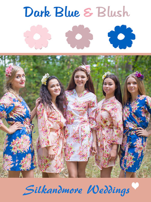 Blush and Dark Blue Wedding Color Robes