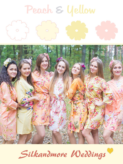 Peach and Yellow Wedding Color Robes