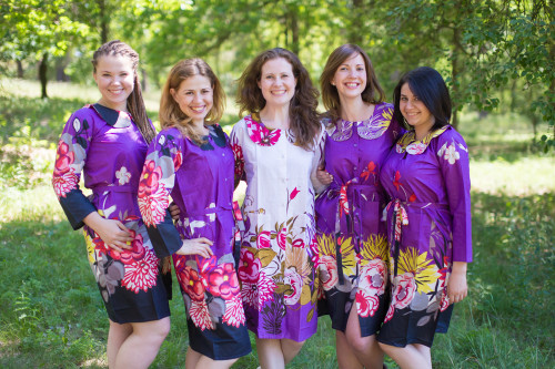 Jungle of Flowers Housecoats for bridesmaids to get ready in