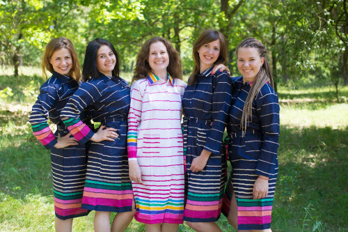 Multicolored Stripes Housecoats for bridesmaids to get ready in