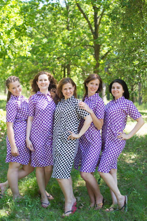 Polka Dots Housecoats for bridesmaids to get ready in