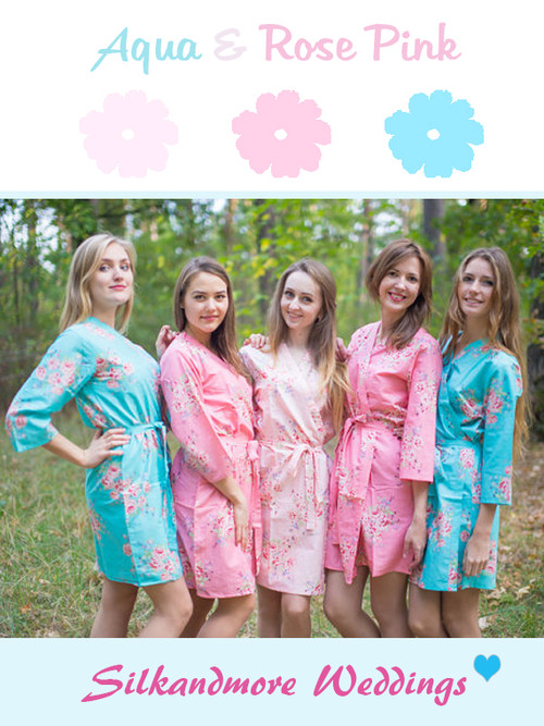 Aqua and Rose Pink Wedding Color Robes