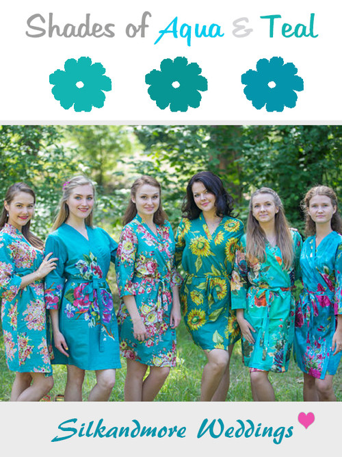 Assorted Teals | SilkandMore Robes