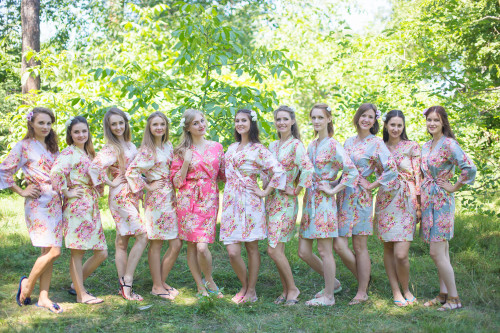 Mismatched Floral Posy2 Robes in soft tones