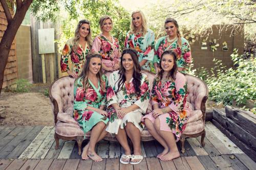 Mismatched Large Floral Blossom2 Robes in soft tones