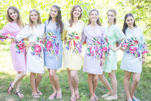 Mismatched Large One Long Flower Robes in soft tones