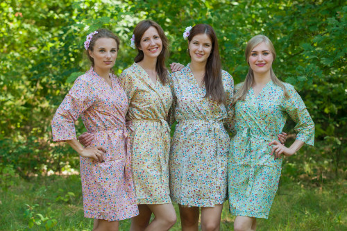 Mismatched Petit Floral Robes in soft tones