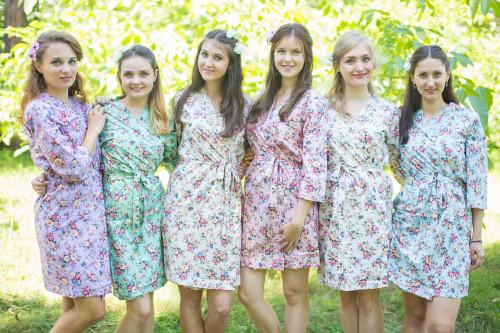 Mismatched Vintage Chic Floral3 Robes in soft tones