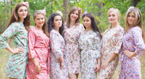 Mismatched Vintage Chic Floral4 Robes in soft tones