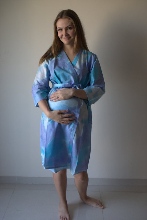 Batik Watercolor Maternity Robe