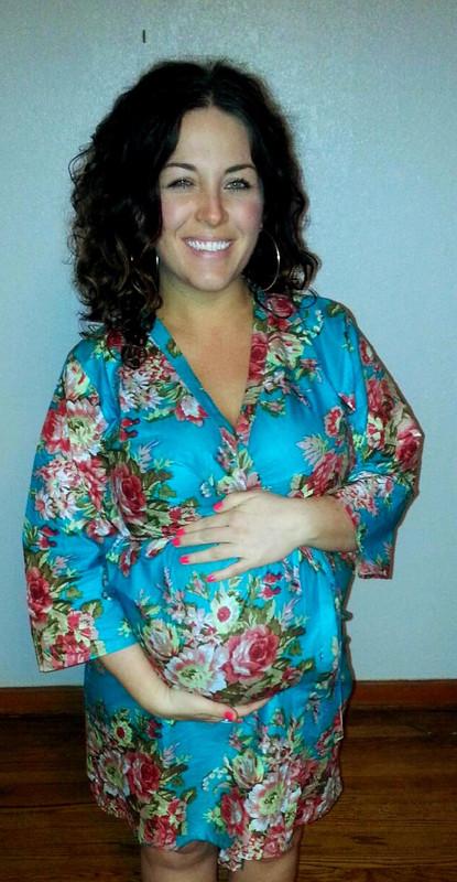 Rosy Red Posy Maternity Knee Length Robe