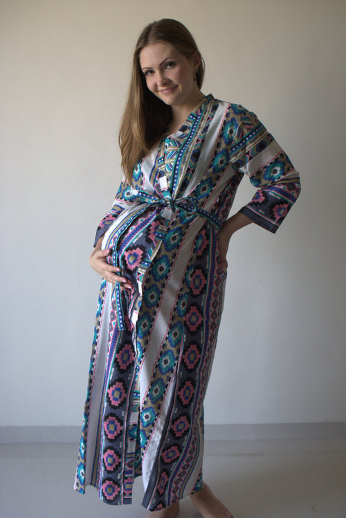 Aztec Geometric Full Length Maternity Robe