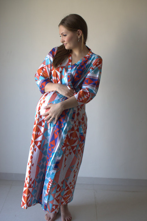 Diamond Aztec Full Length Maternity Robe