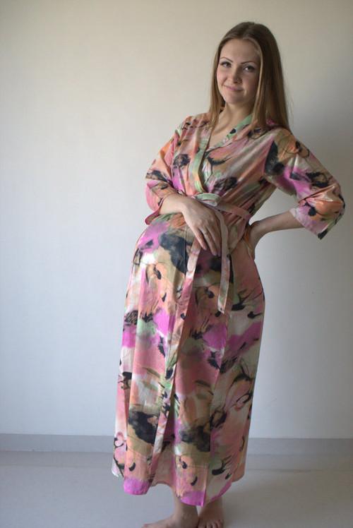 Flamingo Watercolor Full Length Maternity Robe
