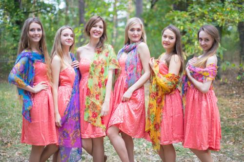 Floral Silk Chiffon Scarves