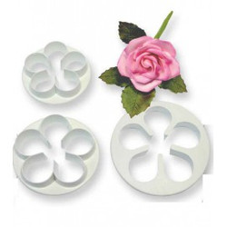 The rose five petal cutters is made out of plastic. The rose five petal cutter can be use on icing to create a rose which can be use to decorate the cake. The cutters comes in a set of three. The measurement for five petal cutter is 57mm 65mm and 75mm.