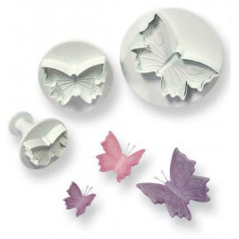 Exceptional life like butterfly cutters medium 60mm (2 ¼in). These fluttering delights come in a pack of 3 made of hard wearing plastic and are easy to wash. The cutters provided a fast fun decorative solution. Hygienically wrapped with high quality