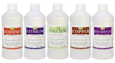 5 Bottle Starter Pak: One 8 ounce each of Iodine, Lithium, Calcium, Copper and Molybdenum bottles.