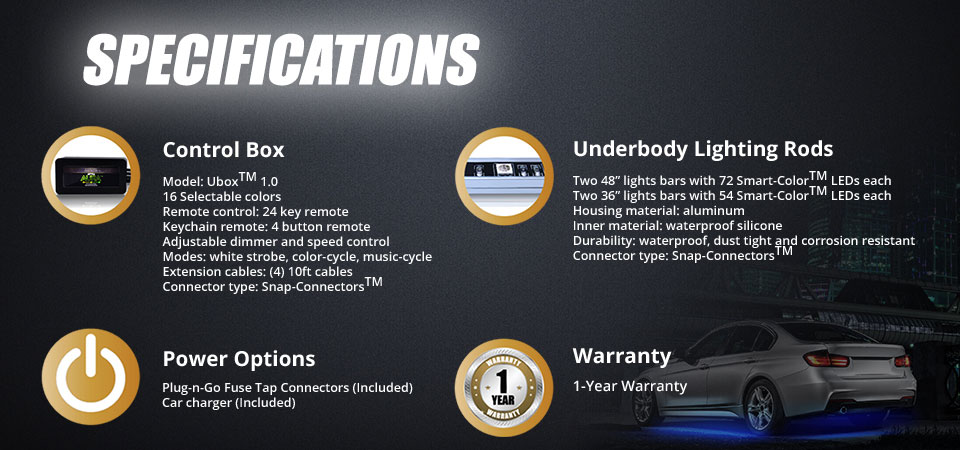 underbody glow light specifications