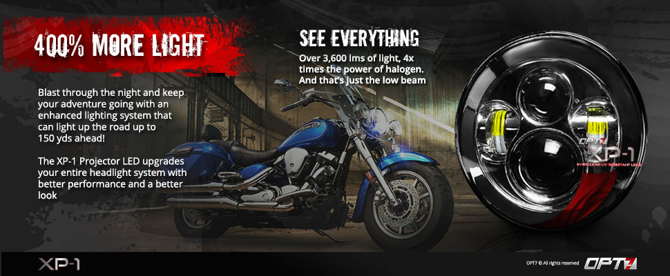 Xp 1 Motorcycle Led 7 Inch Round Projector Headlight Opt7